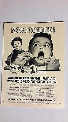 "Vintage 1950's  Advertising IPANA  DENTAL  SCENE ""MORE CAVITIES""  Sign/Ad"