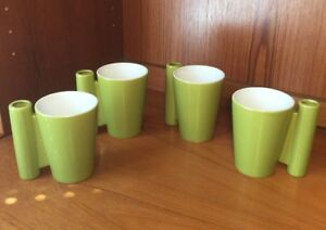 Set-of-4-CB2-Crate-and-Barrel-Green-Ceramic-Mugs-with-Spoon-Holder