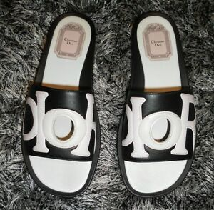 b20fbad4be07 Image is loading 590-Christian-Dior-Marina-Leather-Sandal-Slides-Black-