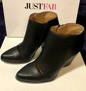 Details zu Just Fab Samika Black Ankle Boots Size 8.5