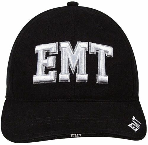 Hat Deluxe Raised Embroidery ROTHCO 9381 Cap EMT Black Adjustable