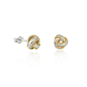 90c58de0d Two-tone Sterling silver .925 7mm rope edge knot stud earring ...