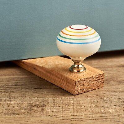 Retro Colourful Stripes Ceramic Oak Decorative Door Stop Wooden Door Wedge 5060310236624 Ebay