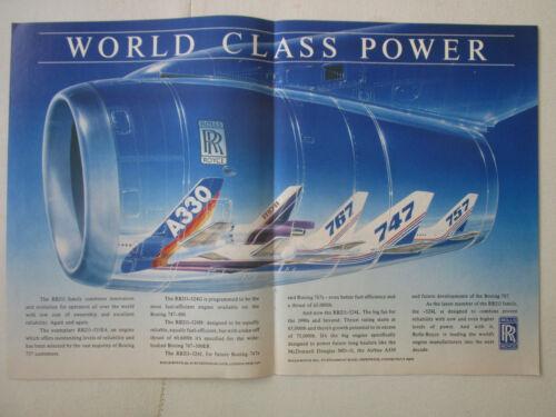 11//1988 PUB ROLLS-ROYCE RB211-524L AIRBUS A330 MD-11 BOEING 747 767 ORIGINAL AD