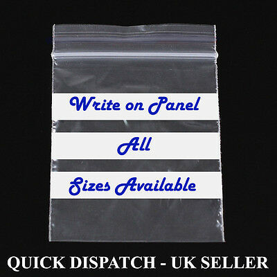 """10/"""" x 14/"""" WRITE ON PANEL STRIPS GRIP SEAL CLEAR BAGS RESEALABLE POLY PLASTIC BAG"""