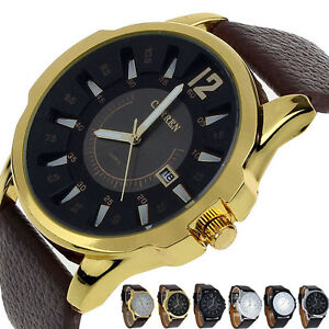 2016 Fashion Mens Sport Watch Steel Case Date Leather Analog Quartz Wrist Watch