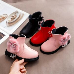 Toddler-Infant-Kids-Zip-Baby-Princess-Fashion-Warm-Shoes-Crystal-Leather-Boots