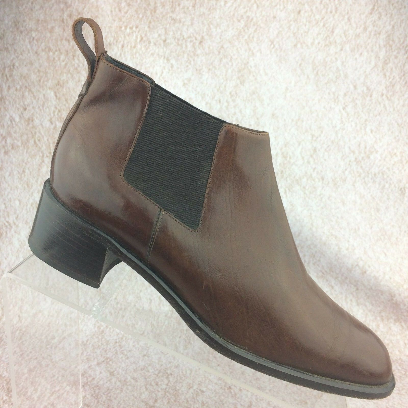 Cole Haan Women's Mattea Chelsea Ankle Boot Brown Leather Pull On Paddock - 10AA