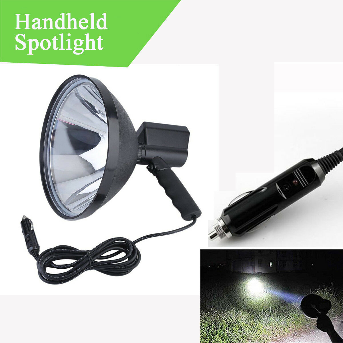 1x Xenon HID 9  1000W H3 6000K Handheld Spotlight Camping Hunting Fishing Light