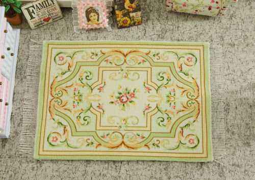 Fresh Elegant Oliver Scroll Red Rose Floral 1:12 Miniature Rug