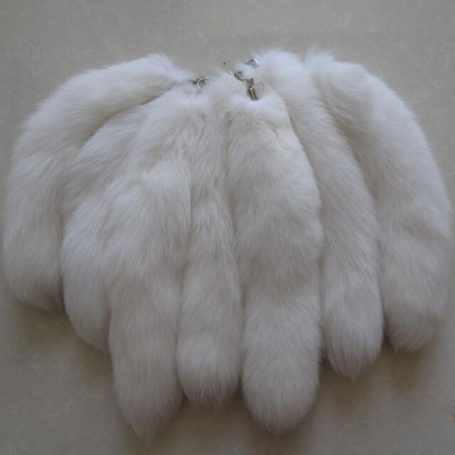 10pcs Lot Large Luxury White Real Fox Tail Keychain Fur Tassel Bag Tag Charm 8ecf1018ea89