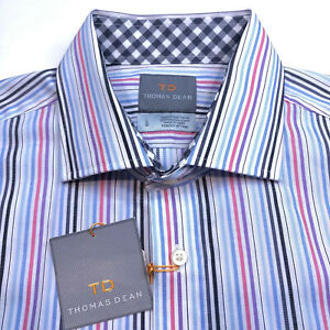THOMAS-DEAN-NWT-Mens-Large-Flip-Cuff-Multi-color-Stripe-Long-Sleeve-Button-Down