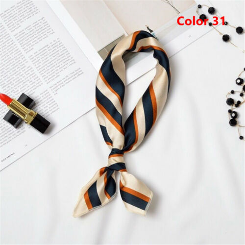 Women Elegant Square Silk Feel Satin Scarf Skinny Retro Head-Neck Hair Band Ties