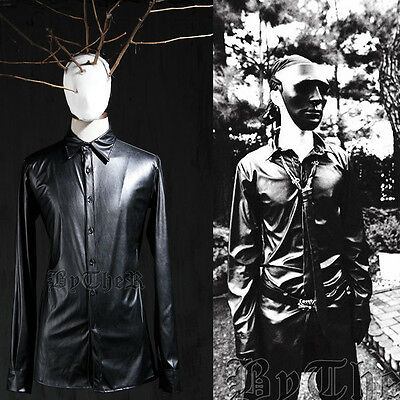 ByTheR Men's Fashion Black Solid Faux Leather Collared Regular Shirt P0000YHW UK
