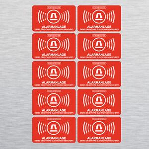 10-Aufkleber-Gebaeude-Alarmgesichert-Alarmanlage-Sicherheit-5-x-3-cm