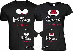 king and queen prince princes mickey and minnie family matching t
