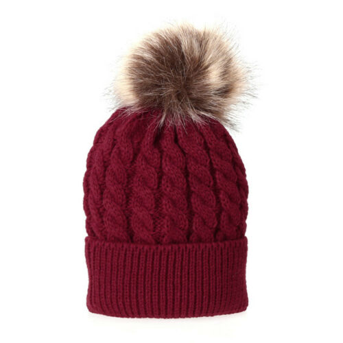 2 Pcs Mother/&Child Baby Winter Wool Knitted Beanie Fur Pom Hat Crochet Ski Cats