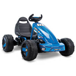 Huffy Ride on Car for Kids 6V 2 in 1, Flat Kart Toy, Blue