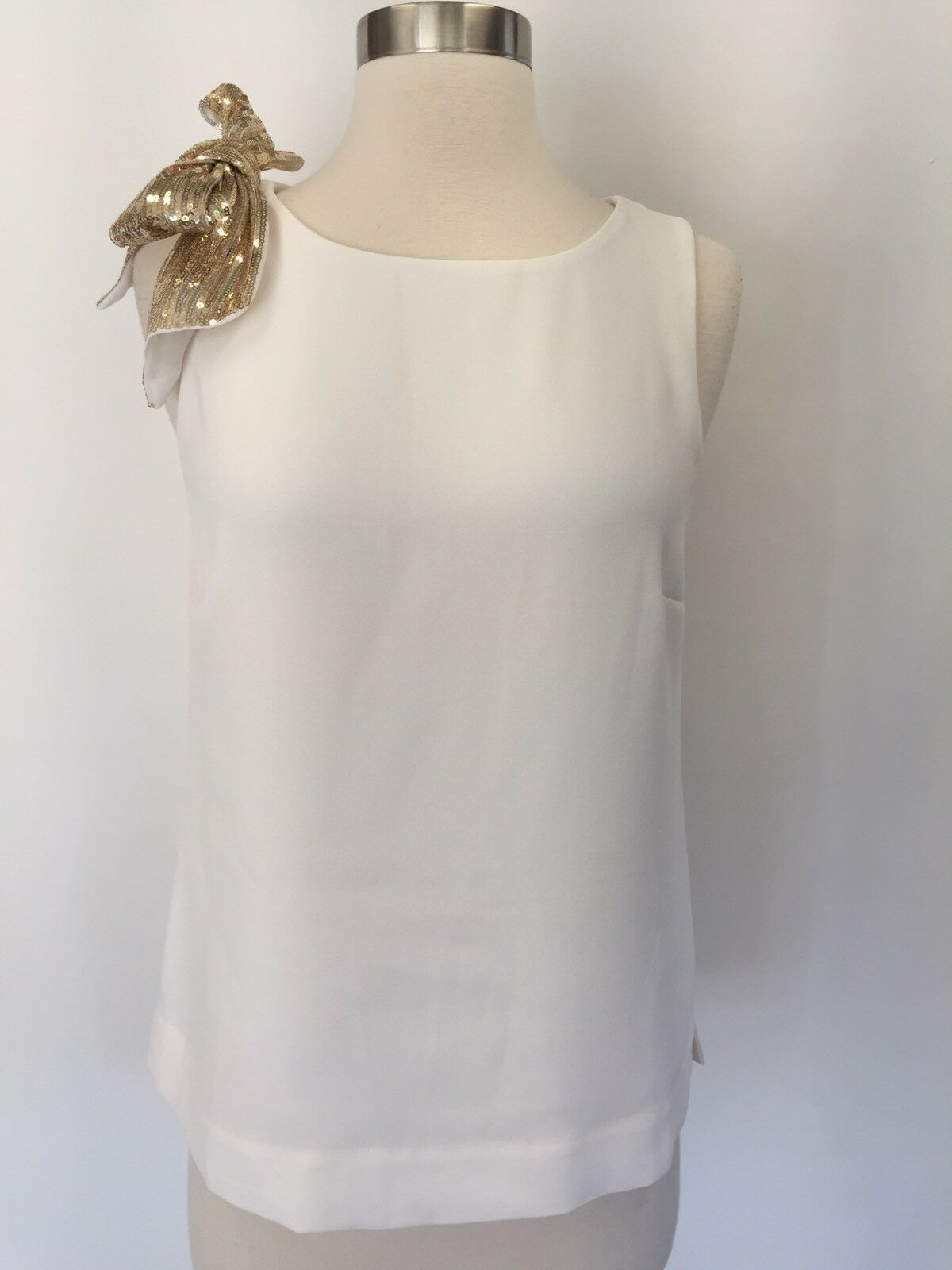 J CREW DRAPEY TANK TOP WITH SHOULDER SEQUIN BOW IVORY Größe 0 H3755 NEW
