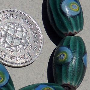 6 old antique venetian oval green chevron millefiori african trade beads #3209