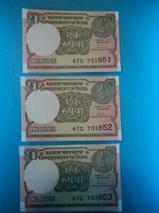 100% De Qualité 3 Billetes 1 Rupia, 2016 , India , P-new , S/c-unc. Soyez Astucieux Dans Les Questions D'Argent
