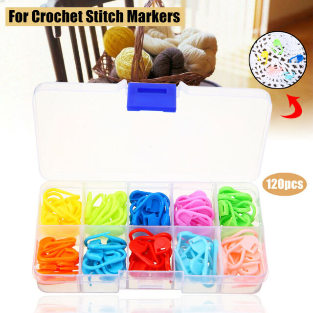 6Pcs 4 Sizes Metal Knitting Crochet Locking Stitch Marker Needle Clip Holder