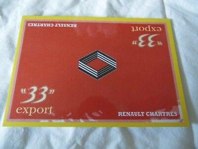 """* Raro * 1:43 Renault"""" 33"""" Esportazione Card Rally Race Motorsport-mostra Il Titolo Originale Design Moderno"""