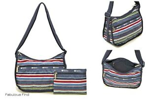 LeSportsac-Indigo-Stripe-Classic-Hobo-Crossbody-Bag-Cosmetic-Bag-NWT-Free-Ship