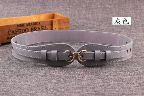 Cow Skin Leather Women Waist Belt Elastic Type Thin Strap Double Pin Buckle Type