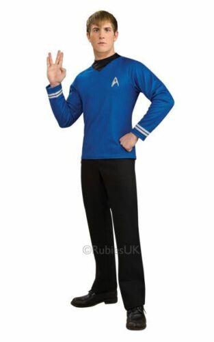 Adulto con Licencia 70s Star Trek Camisa Azul Vestido Elegante Para Hombre Traje de Disfraz para fiesta
