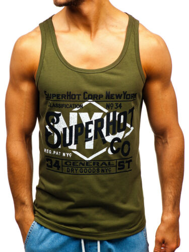 Tanktop Tee T-Shirt Muskelshirt Achselshirt Print Sport Herren BOLF 3C3 Motiv