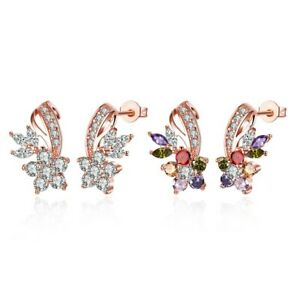 Holiday-Gift-Morganite-Amethyst-Garnet-Rose-Gold-Plated-Flower-Stud-Earrings