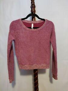 Live-Love-Dream-women-039-s-sz-XS-fleece-sweatshirt-red-color-long-sleeve-scoop-neck