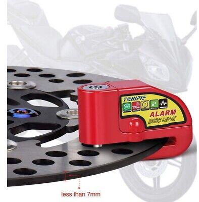 Etanche 7mm /Épaisseur de Disque de Frein VTT Noir 3 Cl/és C/âble de Rappel Accessoire Piles de Rechange Tchipie Antivol Moto Bloque Disque Cadenas Scooter V/élo Alarme de 110dB