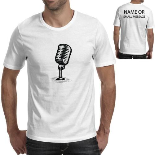 Microphone Sketch Art Mens Printed T-Shirt