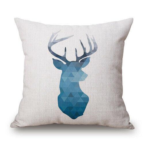 Nordic Geometry Deer head Cotton Linen Throw Pillowcase Cushion Cover Home Decor