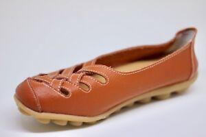 Women-039-s-Orange-Leather-Lattice-Flats