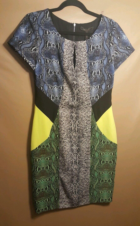 Bcbgmaxazria  Chole  Snake Skin Print Short Sleeve Sheath Dress Größe M