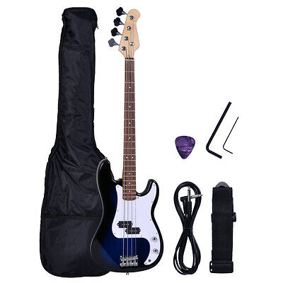 Blue Electric Bass Full Size 4 Strings Guitar +AMP Cord+Gigbag Case+Strap