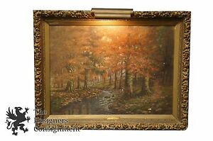 TW Pickard 1944 Oil Landscape Wood Land Stream Painting on Canvas Mid C. Framed