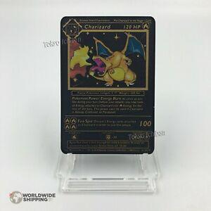 Carte-Pokemon-Gold-Dracaufeu-Charizard-Metal-Black-Card-Fan-Made-EX-GX