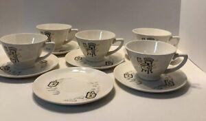 RARE VTG STETSON MARQUEST COFFEE /TEA 5 CUPS, 6 SAUCERS-USA - LINCOLN, IL