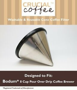 REPL Bodum® 8 Cup Pour Over Coffee Brewers Washable Reusable Cone Coffee Filter