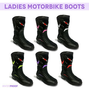 Womens-Motorbike-Leather-Shoes-Waterproof-Motorcycle-Ladies-Racing-Boot-Armoured