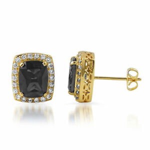Image Is Loading Synthetic Black Onyx Gold Halo Royal Stud Earrings