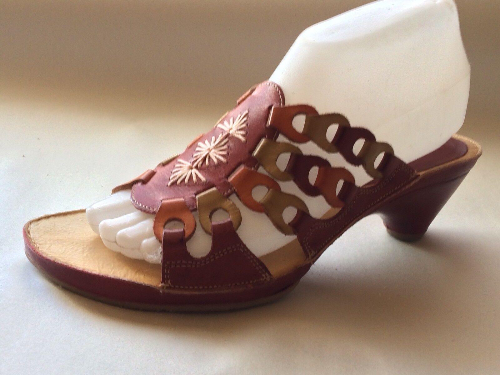 Pikolinos Womens 8 M EU 38 Red Tan orange Leather Slides High Heel Slides Sandal