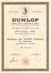 Francia, SA des Pneumatiques Dunlop, accion, 1955 (Siege: Paris) - Düsseldorf, Deutschland - Francia, SA des Pneumatiques Dunlop, accion, 1955 (Siege: Paris) - Düsseldorf, Deutschland