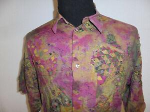 vintage-CASAMODA-Hemd-crazy-pattern-80s-Viskose-shirt-gemustert-oldschool-M-L