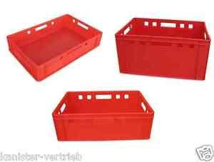 E1-E2-E3-Eurofleischerkiste-Transportkiste-Vorratsbox-Stapelkiste-Farbe-rot-NEU