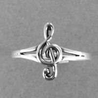 Music Note Silver Ring-b-music Note Ring-b-925 Sterling Silver